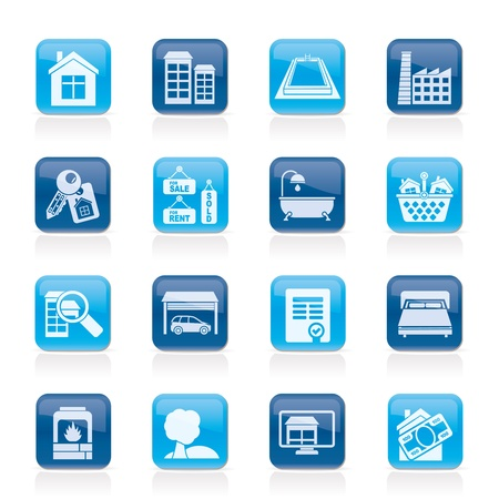 icone immobilier: Objets immobiliers et ic�nes - Icon Set Vector