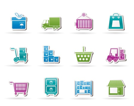 warehouse equipment: Storage, transportation, cargo and shipping icons - vector icon set