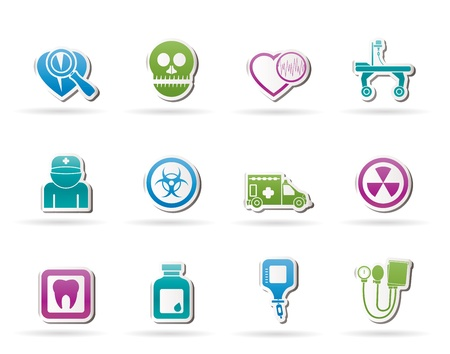 Medicine and hospital equipment icons - vector icon set Vector