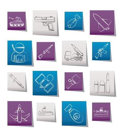 ballistic: Army, weapon and arms Icons - vector icon set