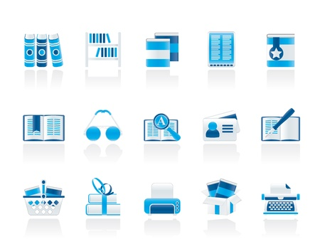 book shop: Library and books Icons - vector icon set Illustration