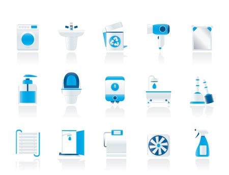 Bathroom and toilet objects and icons - vector icon set Stock Vector - 11275114
