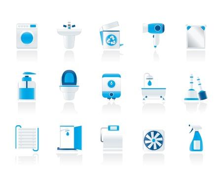 lavabo: Cuarto de ba�o y aseo objetos e iconos - conjunto de icono de vector