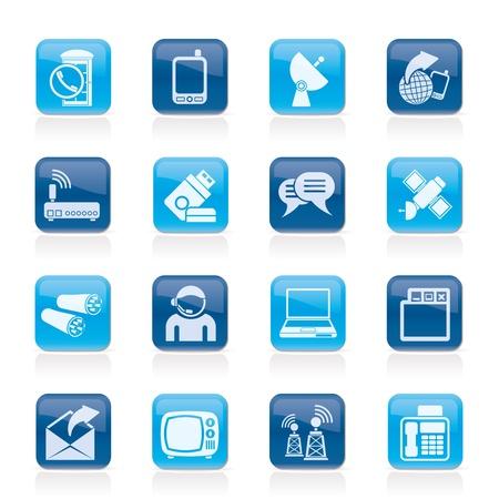 cable telefono: La comunicación, la conexión y la tecnología de iconos - conjunto de vectores icono