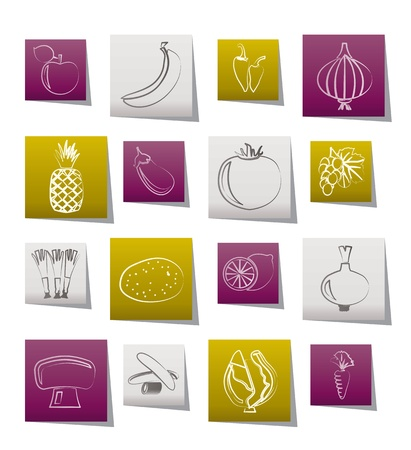 pineapple juice: Different kind of fruit and vegetables icons - vector icon set