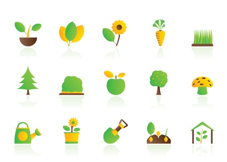 gardening tool: Different Plants and gardening Icons - vector icon set