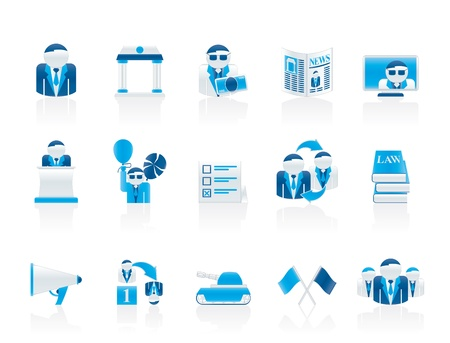 politician: Politics, election and political party icons - vector icon set Illustration