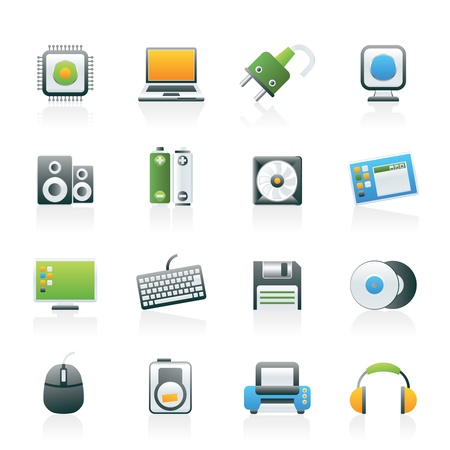 pilas: Los productos de inform�tica y los iconos conjunto - Accesorios vector icono