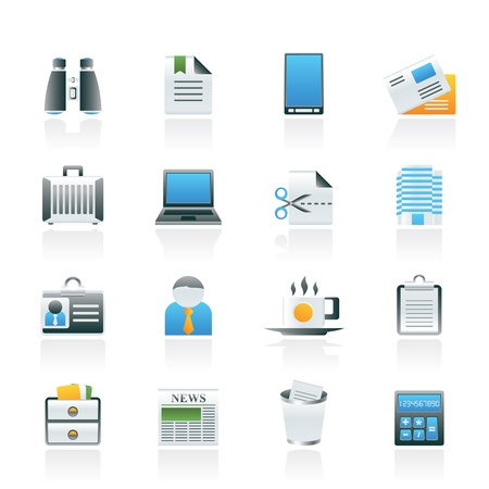 Business and office elements icons - vector icon set