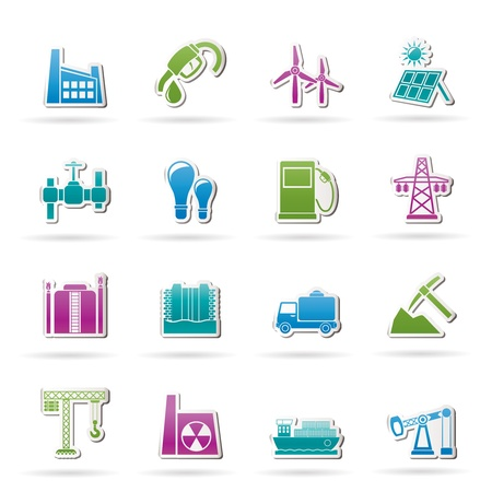 mine site: Business and industry icons - vector icon set