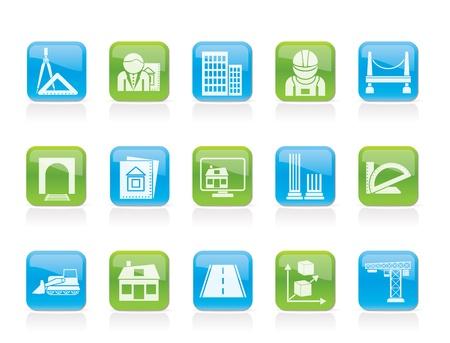 piano di progetto: icone dell'architettura e delle costruzioni - set di icone vettore