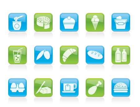 bread and butter: Dairy Products - Food and Drink icons - vector icon set