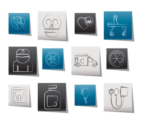 emergency stretcher: Medicine and hospital equipment icons - vector icon set