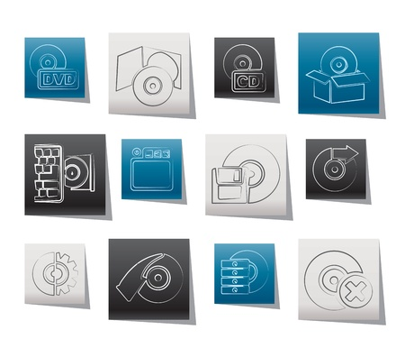 Computer Media and disk Icons - vector icon set Vector