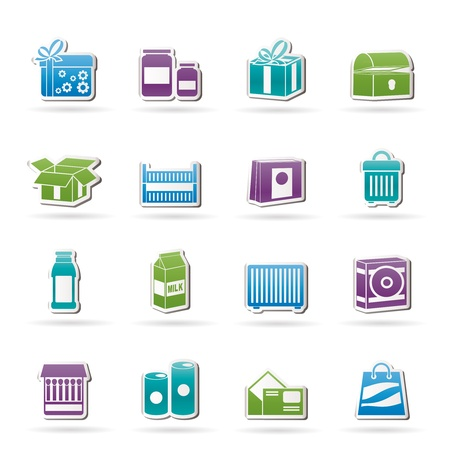 box of matches: different kind of package icons - vector icon set