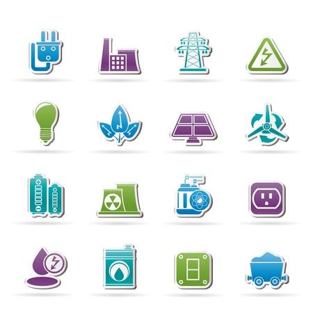 carbone: icone di potenza, energia ed elettricità - set di icone vettore