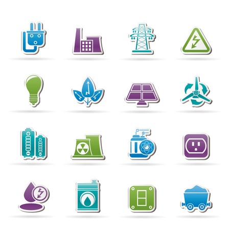solar power station: power, energy and electricity icons - vector icon set