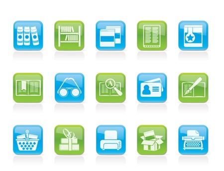 bibliotecas: Biblioteca y los libros de iconos - iconos conjunto de vectores