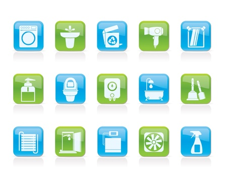 Bathroom and toilet objects and icons - vector icon set Vector