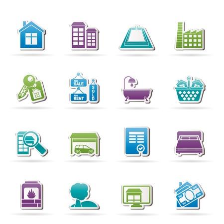icone immobilier: Objets de l'immobilier et des ic�nes - Icon Set Vector Illustration
