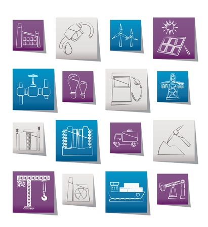 industrial icon: Business and industry icons - vector icon set