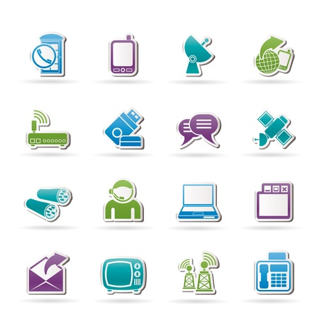 Communicatie, verbinding en technologie pictogrammen - vector icon set
