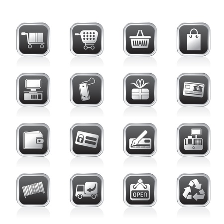 electronic balance: Online Shop icons - Vector Icon Set