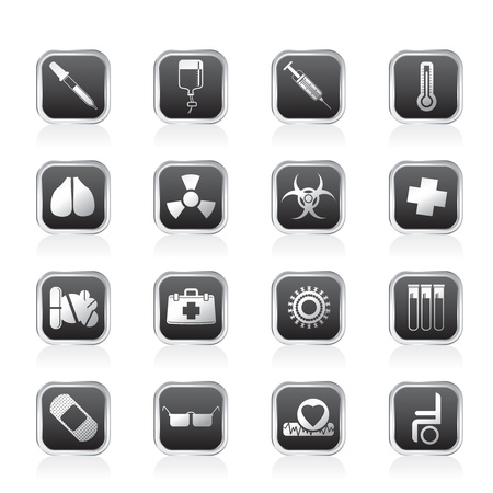 squirt: collection of  medical themed icons and warning-signs - Vector Icon Set