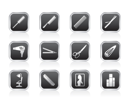 hairdressing scissors: hairdressing, coiffure and make-up icons - vector Icon Set
