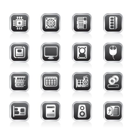mainboard: Computer  Performance and Equipment Icons - Vector Icon Set Illustration