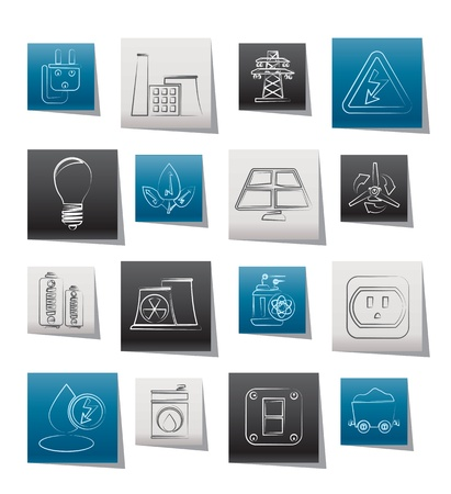 power, energy and electricity icons - vector icon set Stock Vector - 11660111
