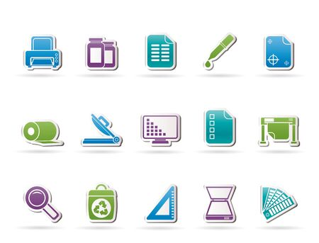 guillotine: Commercial print icons - vector icon set