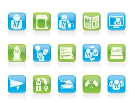 voting ballot: Pol�tica, elecciones y pol�tica del partido iconos - iconos conjunto de vectores Vectores