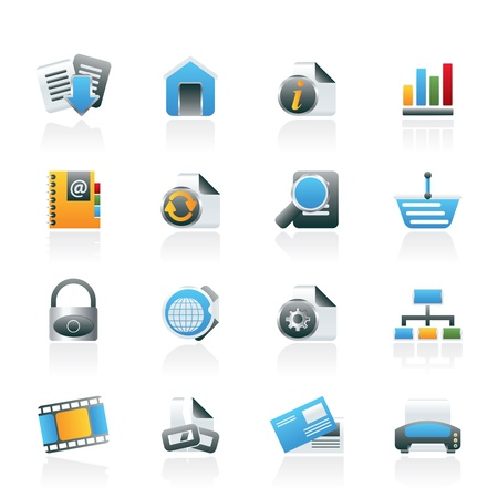 web address: Web Site and Internet icons - vector icon set Illustration