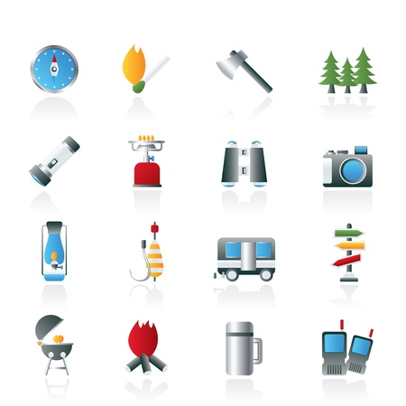 Camping, travel and Tourism icons - vector icon set Vector Illustration