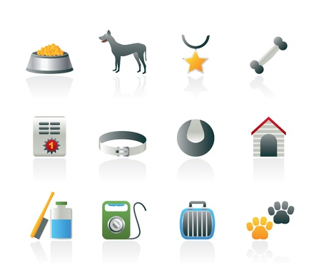 pet food: dog accessory and symbols icons - vector icon set