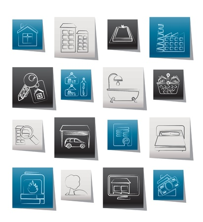 Real Estate objects and Icons - Vector Icon Set Vector