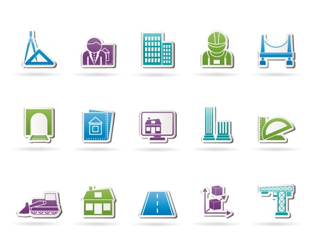 architect drawing: architecture and construction icons - vector icon set