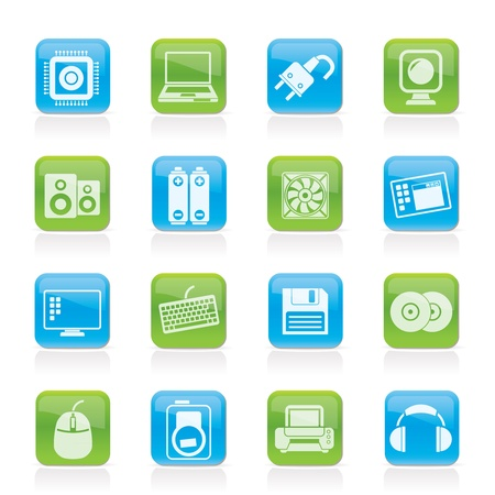 computer cpu: Computer Items and Accessories icons - vector icon set Illustration