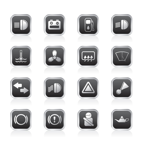 Car Dashboard - simple vector icons set Vector