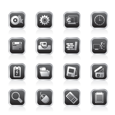 button batteries: Computer, mobile phone and Internet Vector Icon Set