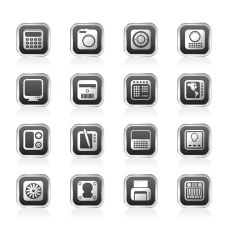 Hi-tech and technology equipment - vector icon set 4 Stock Vector - 11660100