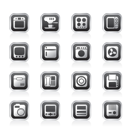 microwave ovens: Home and Office, Equipment Icons - Vector Icon Set Illustration