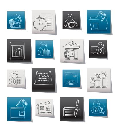 Bank and Finance Icons - Vector Icon Set Illustration