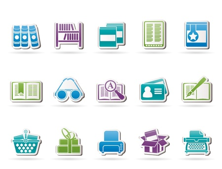 shelf with books: Library and books Icons - vector icon set Illustration