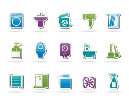 wc: Badezimmer und WC-Objekte und Icons - Vector Icon Set Illustration