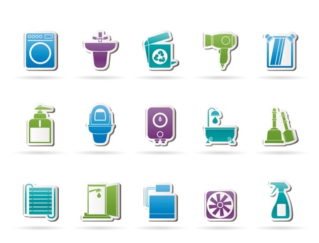 boiler: Bathroom and toilet objects and icons - vector icon set Illustration