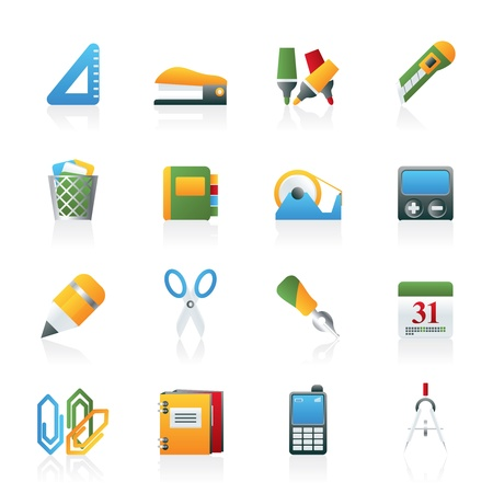 Business and office objects icons - vector icon set Vector