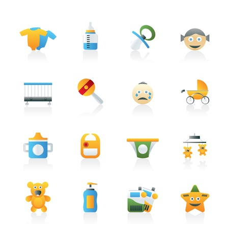 toy phone: Baby, children and toys icons - vector icon set