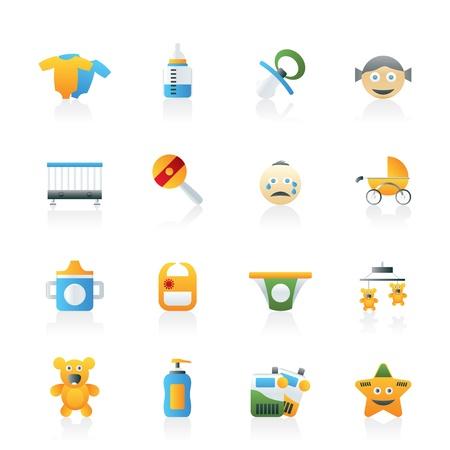 sonajero: Beb�, los ni�os y los iconos de los juguetes - conjunto de vectores icono